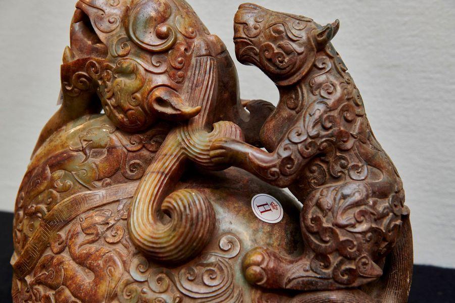 Pièce asiatique de la collection du prince consort Henrik de Danemark exposée chez Bruun Rasmussen Auctioneers le 16 août 2019 avant sa vente aux enchères à Copenhague