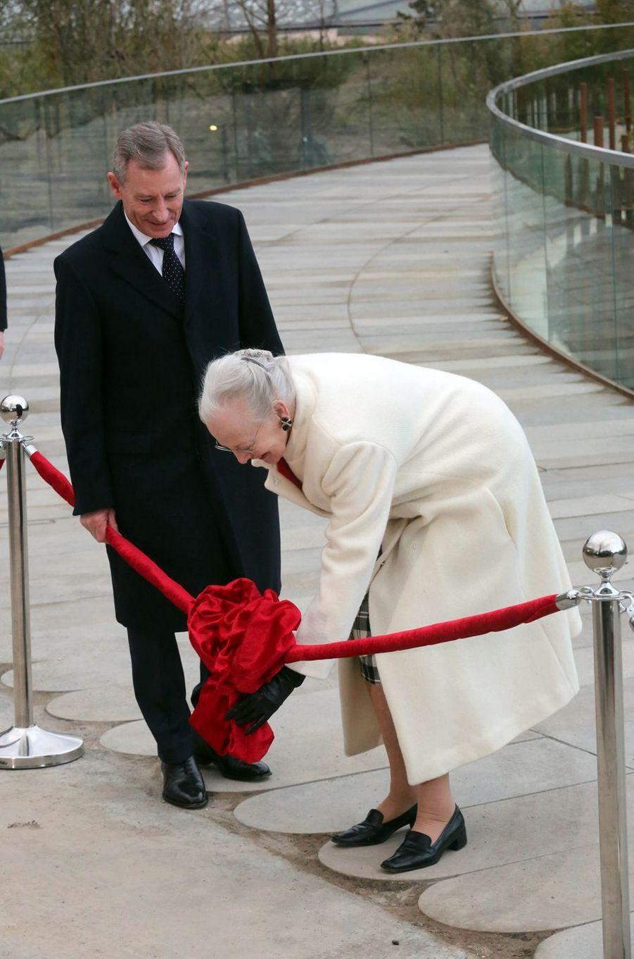 La reine Margrethe II de Danemark inaugure l'enclos des pandas à Copenhague, le 10 avril 2019