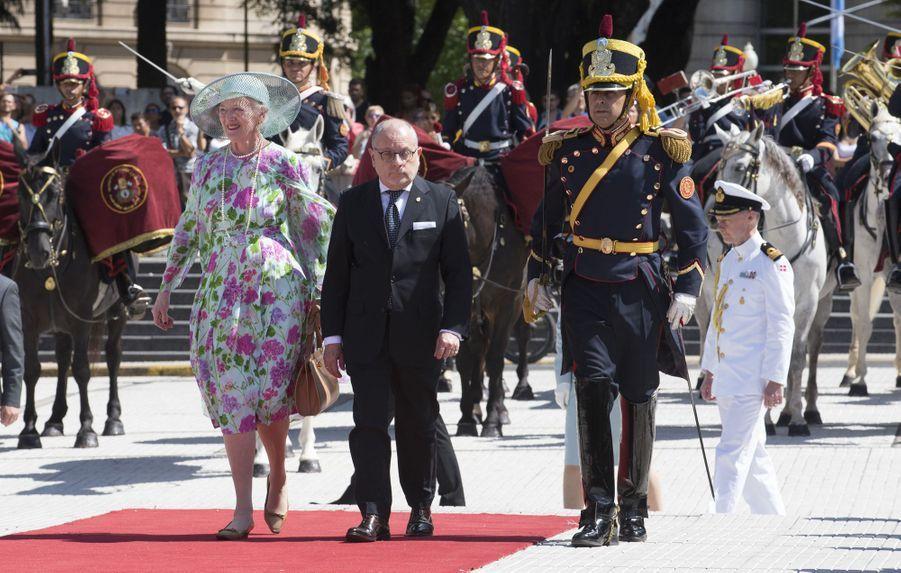 La reine Margrethe II de Danemark en visite d'Etat à Buenos Aires, le 18 mars 2019