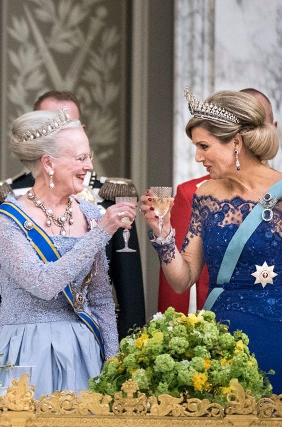 La reine Margrethe II de Danemark et la reine Maxima des Pays-Bas à Copenhague, le 17 mars 2015