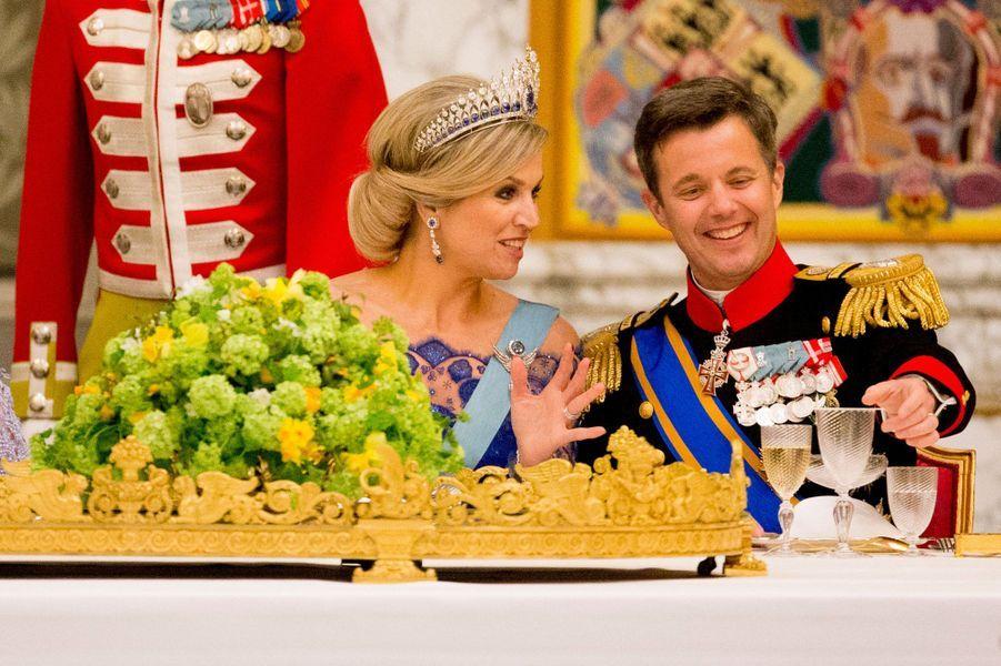 La reine Maxima des Pays-Bas et le prince Frederik de Danemark à Copenhague, le 17 mars 2015