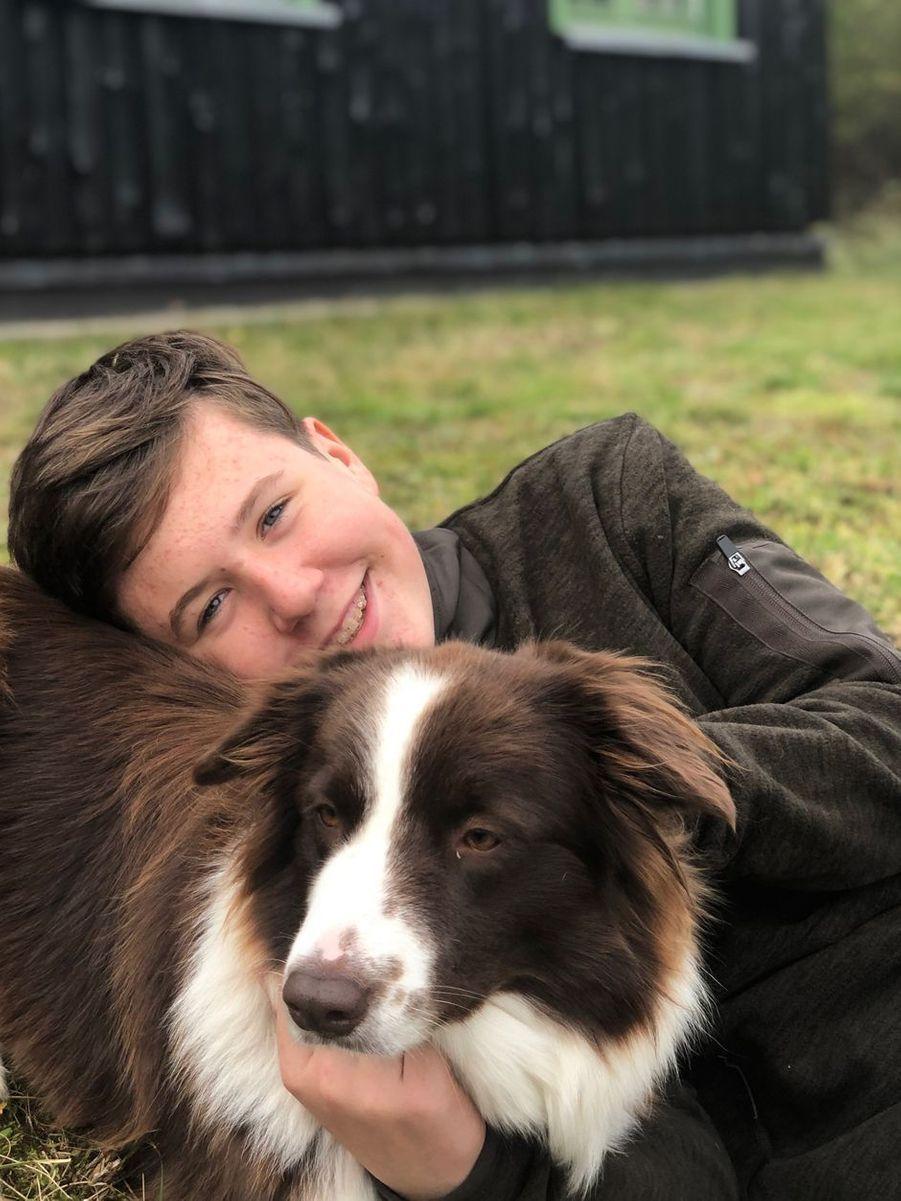 Portrait du prince Christian de Danemark avec sa chienne Grace diffusé pour ses 14 ans, le 15 octobre 2019