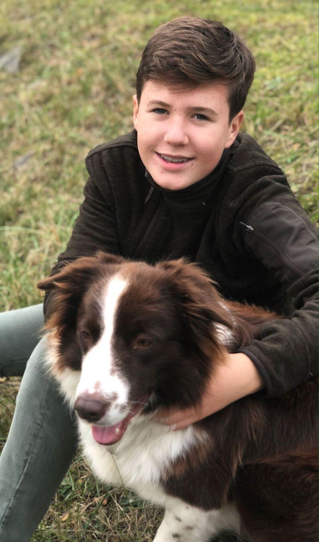 Portrait du prince Christian de Danemark avec sa chienne Grace, diffusé le 15 octobre 2019 pour ses 14 ans