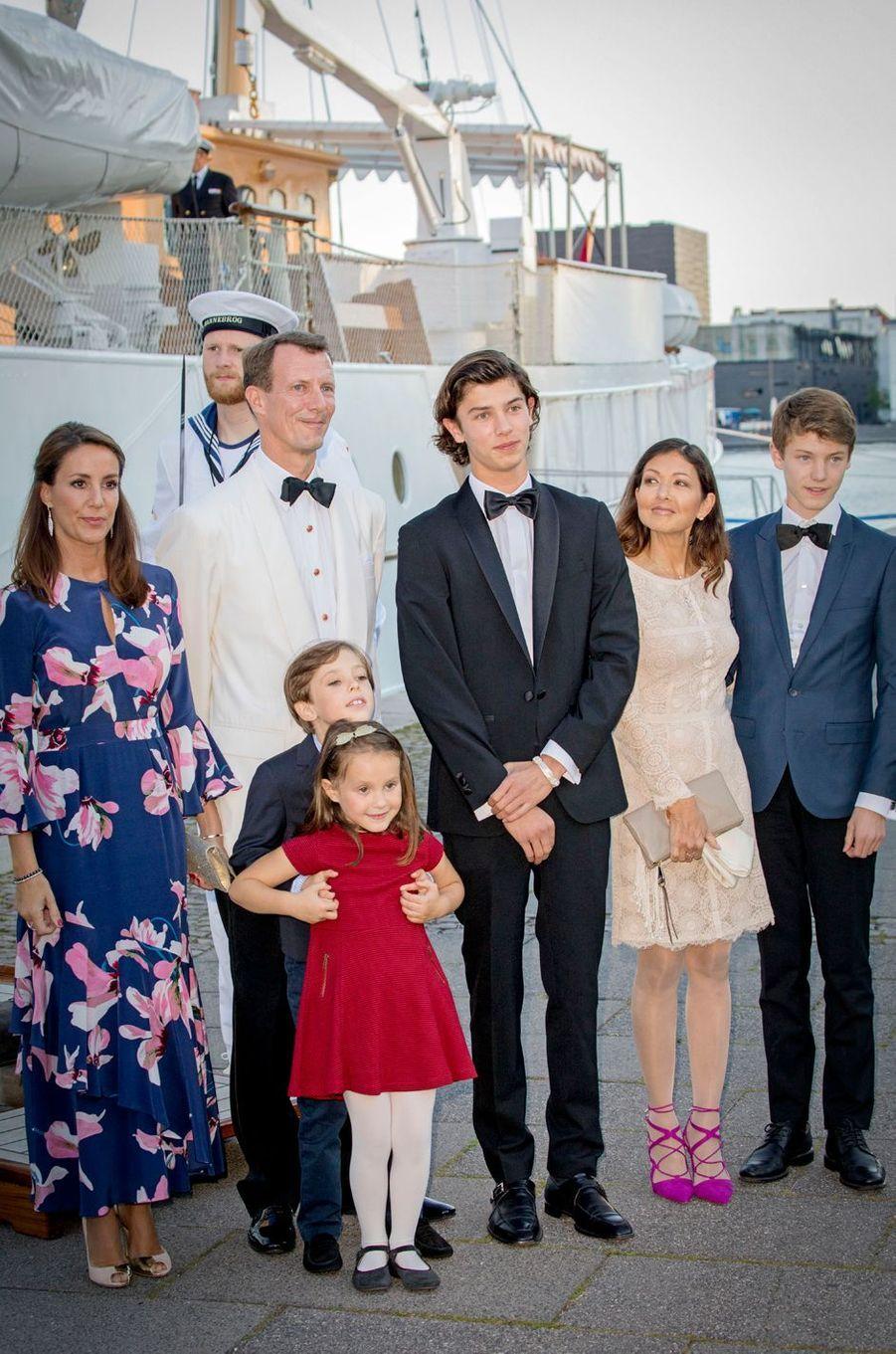 Le prince Joachim, la princesse Marie, Alexandra Manley et leurs enfants à Copenhague, le 28 août 2017