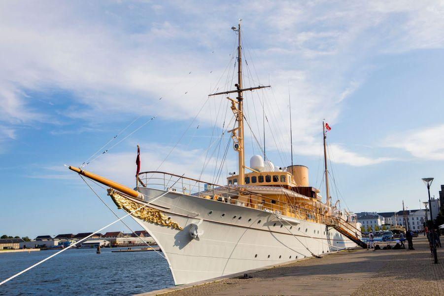 Le Dannebrog, le yacht de la famille royale de Danemark, à Copenhague le 28 août 2017
