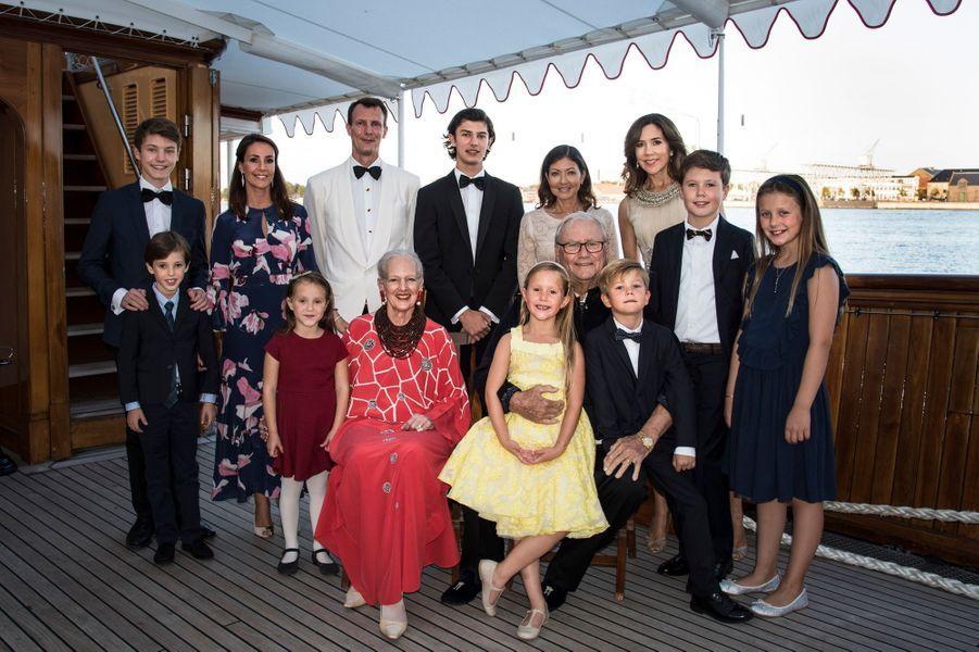 La famille royale de Danemark à bord du Dannebrog à Copenhague, le 28 août 2017