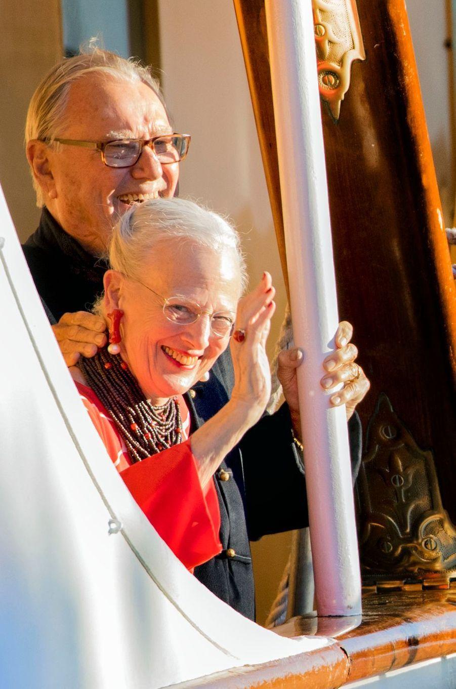 La reine Margrethe II et le prince consort Henrik de Danemark à Copenhague, le 28 août 2017