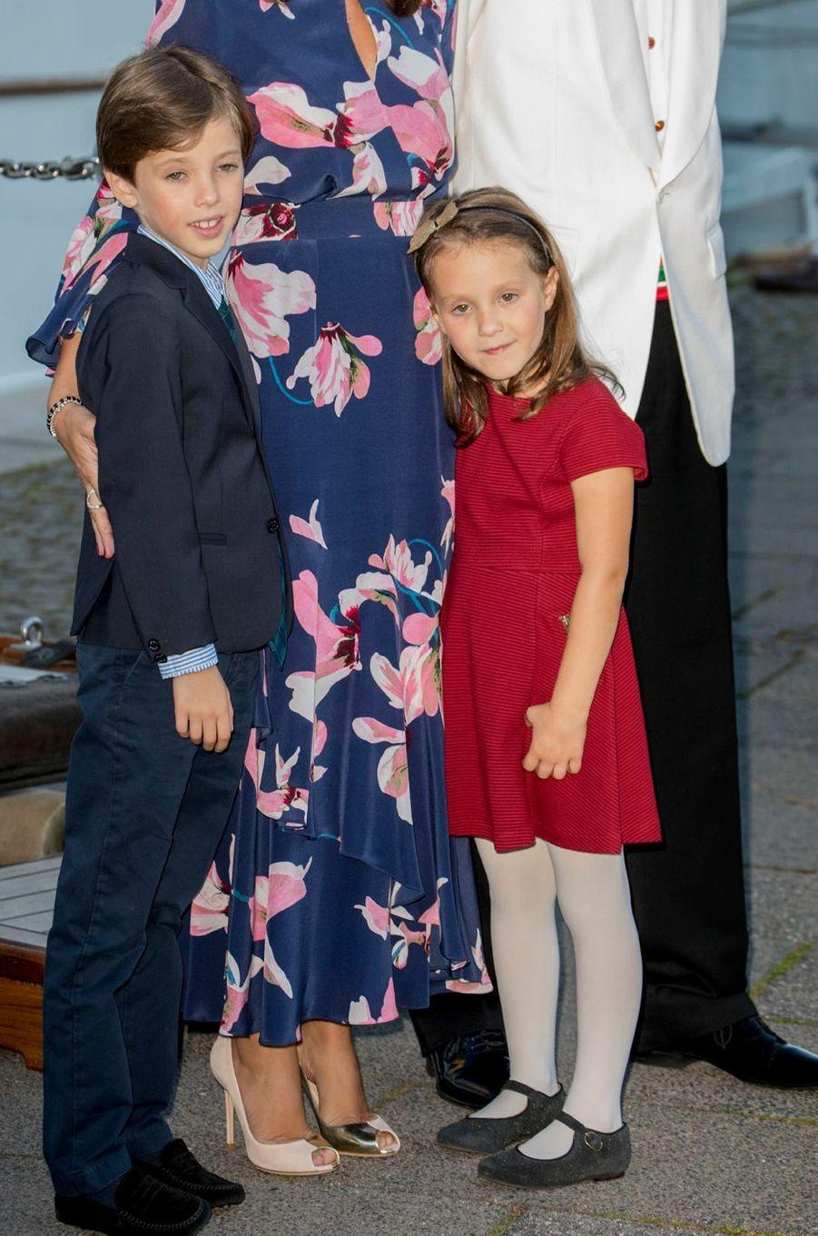 Le petit prince Henrik et la princesse Athena de Danemark à Copenhague, le 28 août 2017