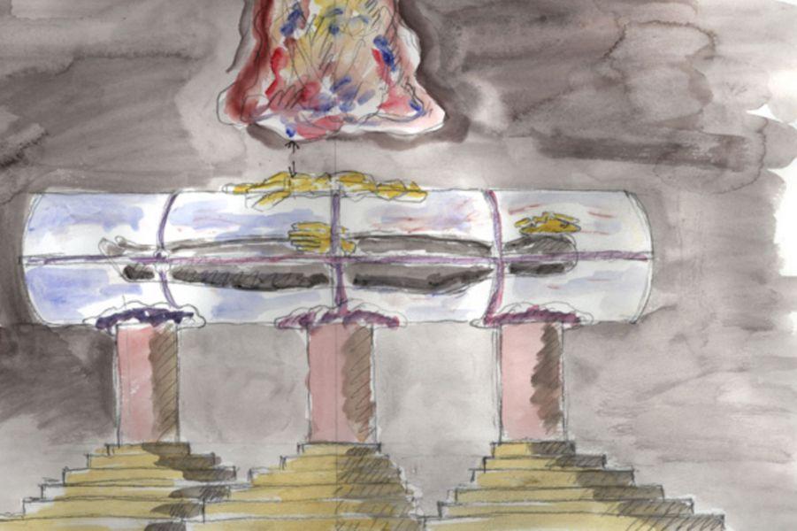 Croquis du tombeau de la reine Margrethe II de Danemark