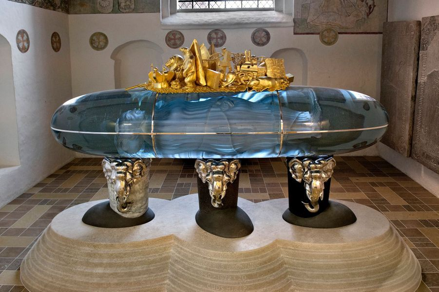 Le futur tombeau de la reine Margrethe II de Danemark dans la chapelle Sainte Brigitte de la cathédrale de Roskilde, en avril 2018
