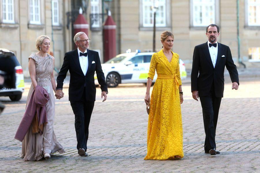 La princesse Alexandra von Sayn-Wittgenstein-Berleburg et le prince Nikolaos de Grèce avec leurs conjoints, à Copenhague le 7 juin 2019