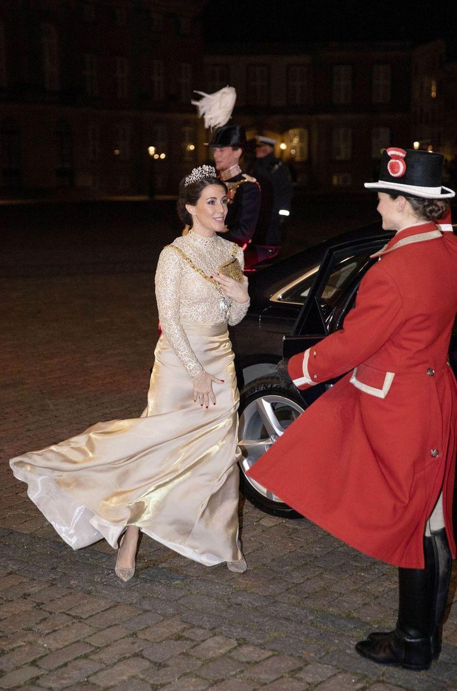 La princesse Marie, en Rikke Gudnitz, et le prince Joachim de Danemark à Copenhague, le 1er janvier 2019