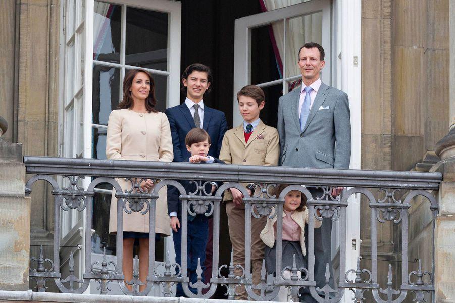 La princesse Marie et le prince Joachim avec leurs enfants à Copenhague, le 16 avril 2016