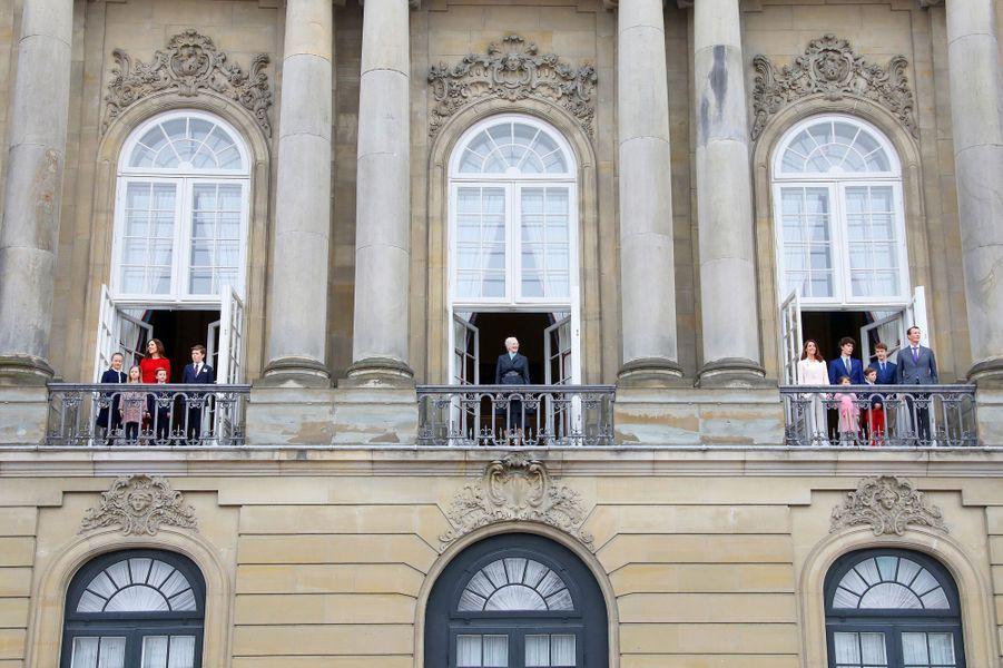 La reine Margrethe II de Danemark et sa famille à Copenhague, le 16 avril 2018