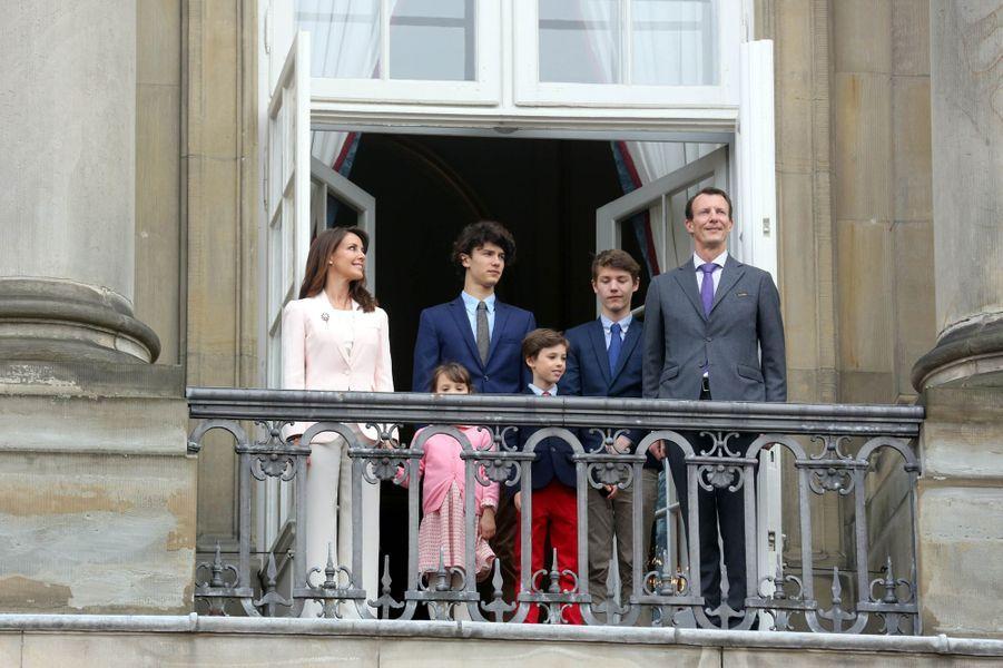 La princesse Marie et le prince Joachim de Danemark avec leurs enfants à Copenhague, le 16 avril 2018