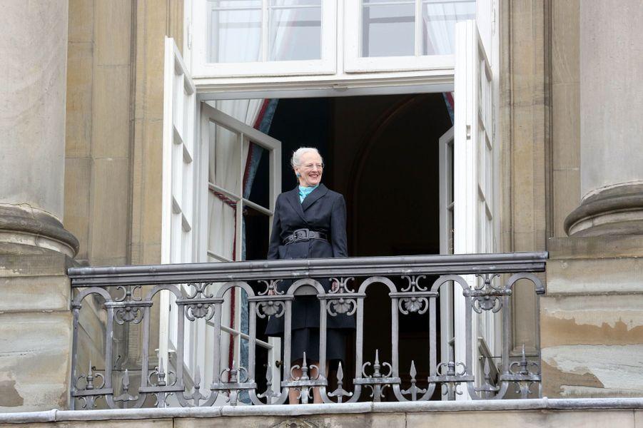 La reine Margrethe II de Danemark à Copenhague, le 16 avril 2018, jour de son 78e anniversaire