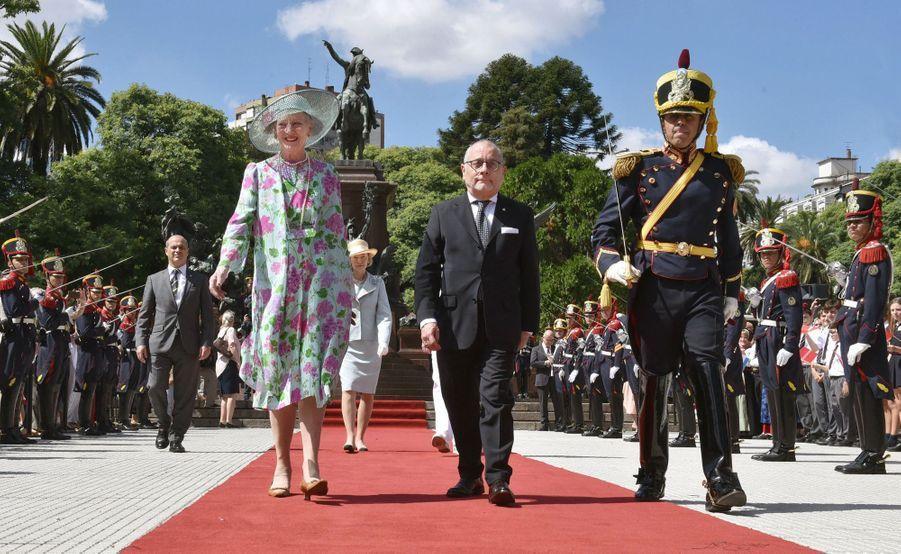 La reine Margrethe II de Danemark en visite d'Etat en Argentine, à Buenos Aires le 18 mars 2019