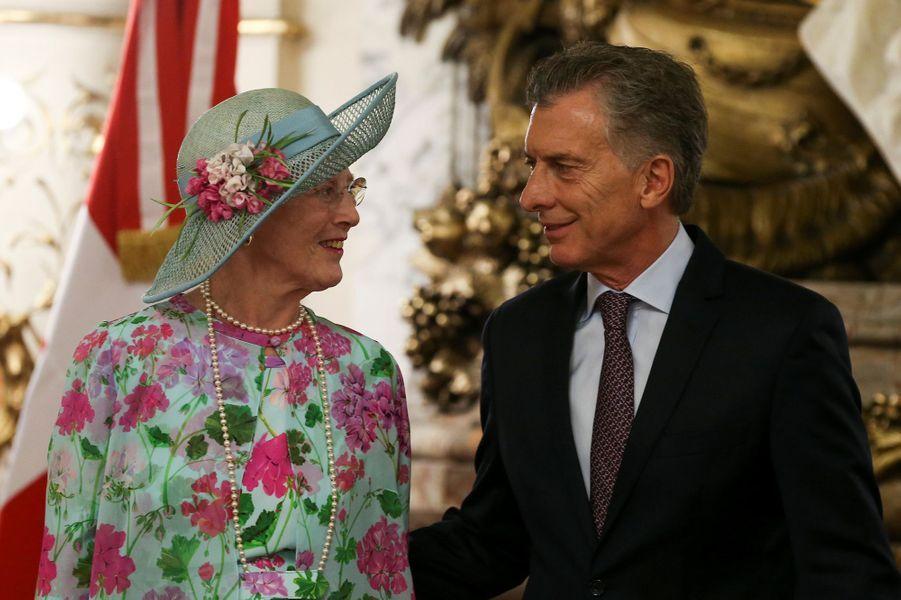 La reine Margrethe II de Danemark avec le président argentin Mauricio Macri à Buenos Aires en Argentine, le 18 mars 2019
