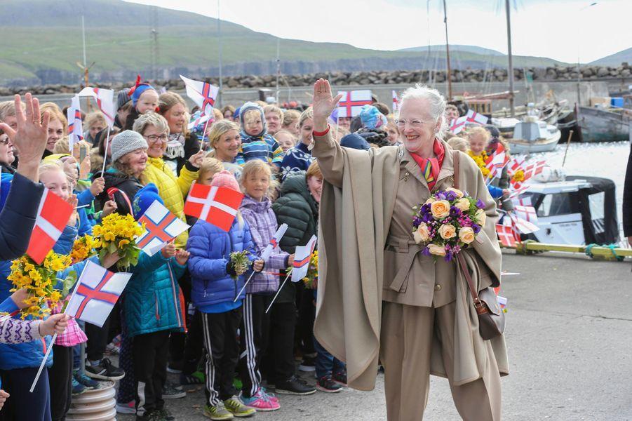 La reine Margrethe II de Danemark aux îles Féroé, le 15 juin 2016