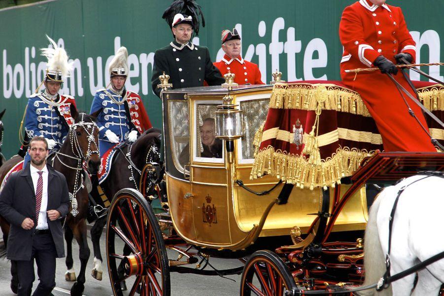 La reine Margrethe II de Danemark dans le carrosse du roi Christian VIII à Copenhague, le 4 janvier 2018