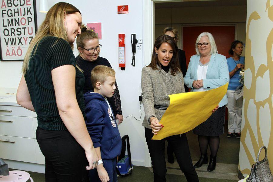 La princesse Marie de Danemark à l'hôpital pour enfants d'Odense, le 5 avril 2018