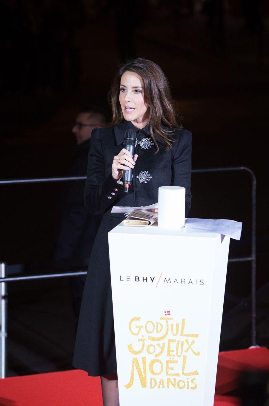 La princesse Marie de Danemark lance le Noël danois du BHV Marais à Paris, le 15 novembre 2017