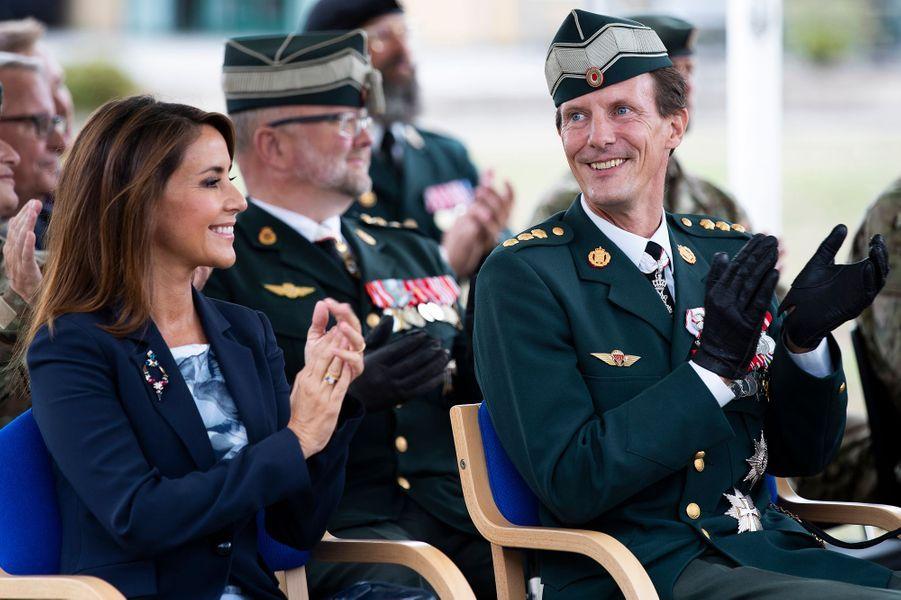 La princesse Marie et le prince Joachim de Danemark à l'école militaire de Varde, le 15 août 2018