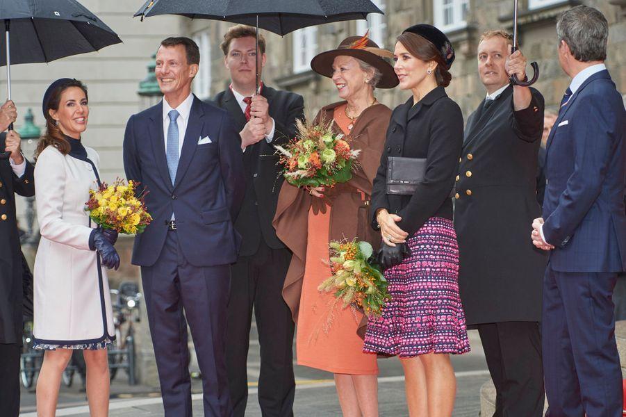 Les princesses Marie, Benedikte et Mary et les princes Joachim et Frederik de Danemark à Copenhague, le 2 octobre 2018