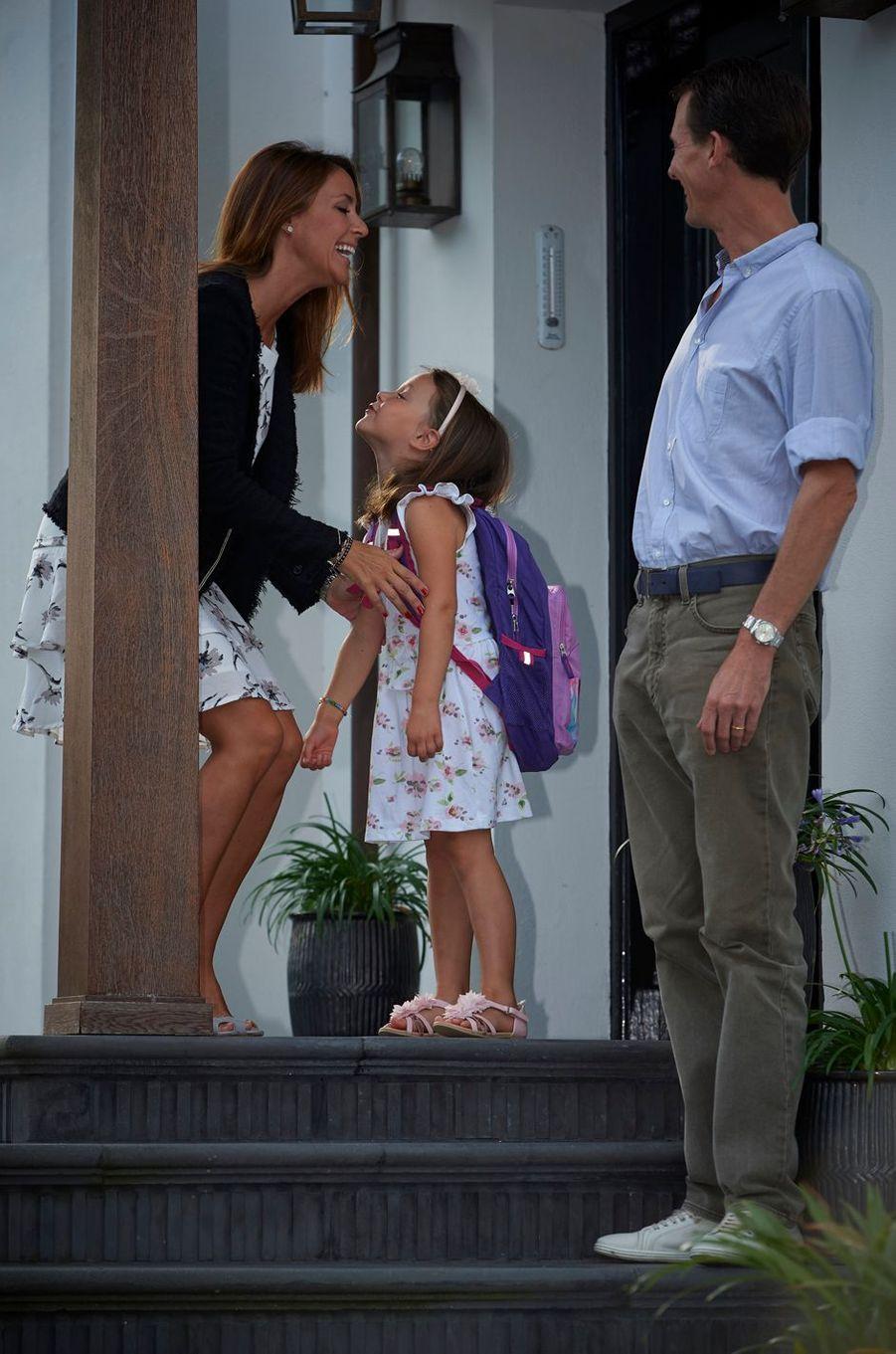 La princesse Marie et le prince Joachim de Danemark avec leur fille la princesse Athena à Copenhague, le 11 août 2017