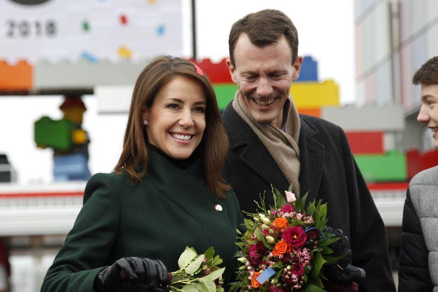 La princesse Marie et les prince Joachim et Felix de Danemark au Legoland Billund, le 24 mars 2018