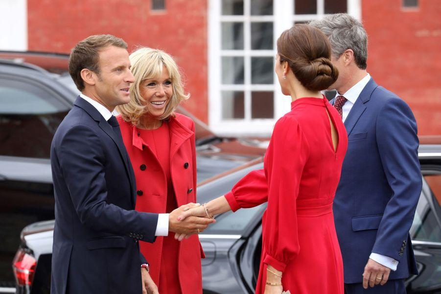 La princesse Mary et le prince Frederik de Danemark accueillent Brigitte et Emmanuel Macron à Copenhague, le 28 août 2018