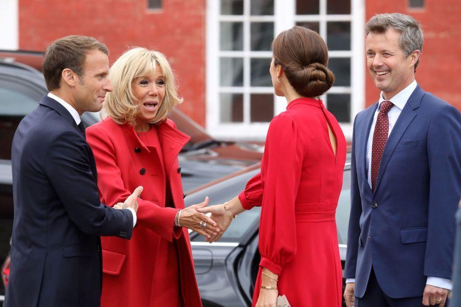 La princesse Mary et le prince Frederik de Danemark avec Brigitte et Emmanuel Macron à Copenhague, le 28 août 2018