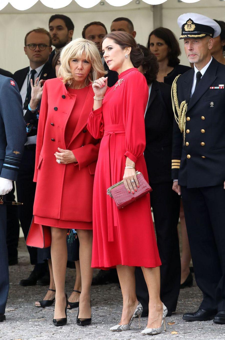Brigitte Macron et la princesse Mary de Danemark à Copenhague, le 28 août 2018
