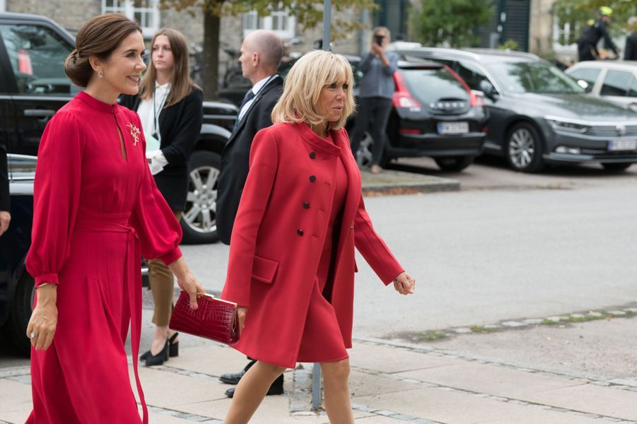 La princesse Mary de Danemark avec Brigitte Macron à Copenhague, le 28 août 2018