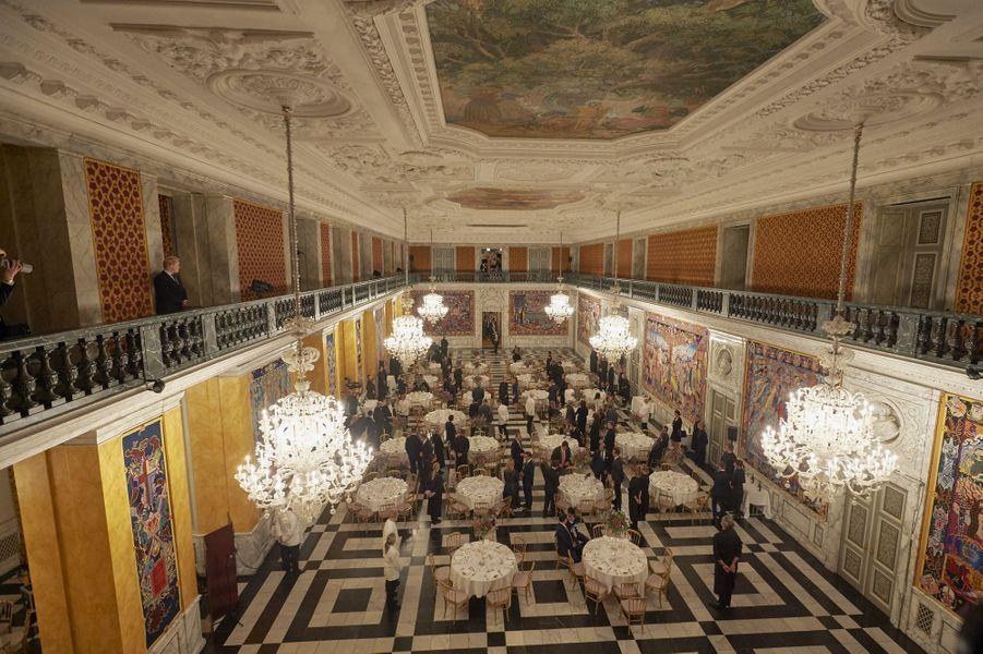 La salle de banquet du château de Christiansborg à Copenhague, le soir du dîner pour le Sommet mondial sur le climat des maires du C40, le 11 octobre 2019