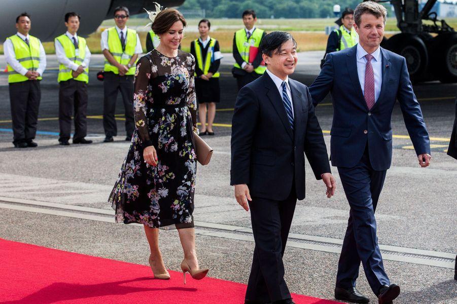 La princesse Mary et le prince Frederik de Danemark avec le prince Naruhito du Japon à Copenhague, le 15 juin 2017