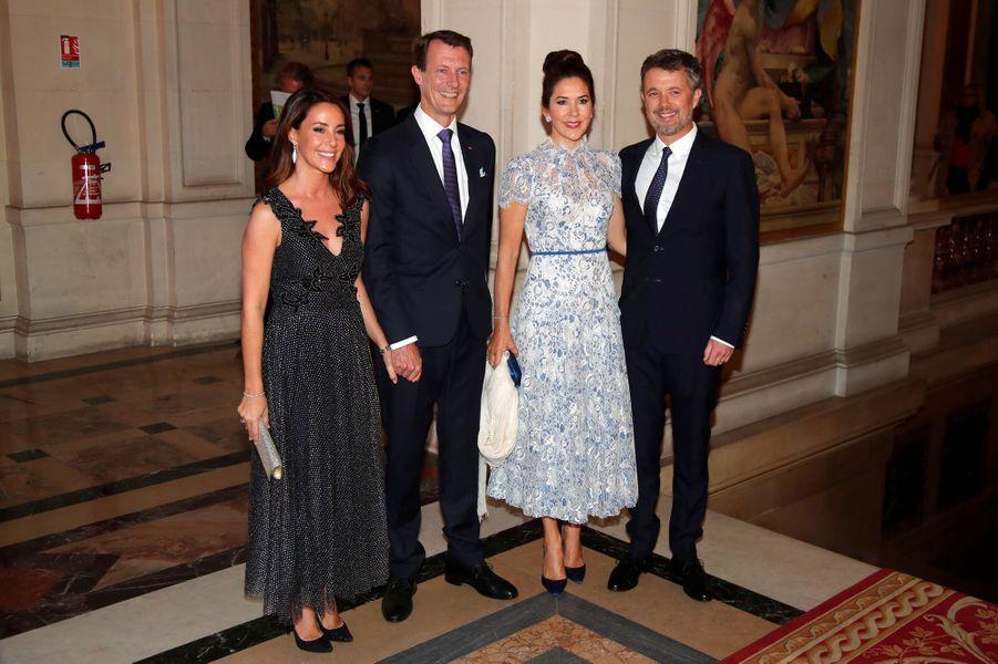 Les princesses Marie et Mary et les princes Joachim et Frederik de Danemark à Paris, le 8 octobre 2019