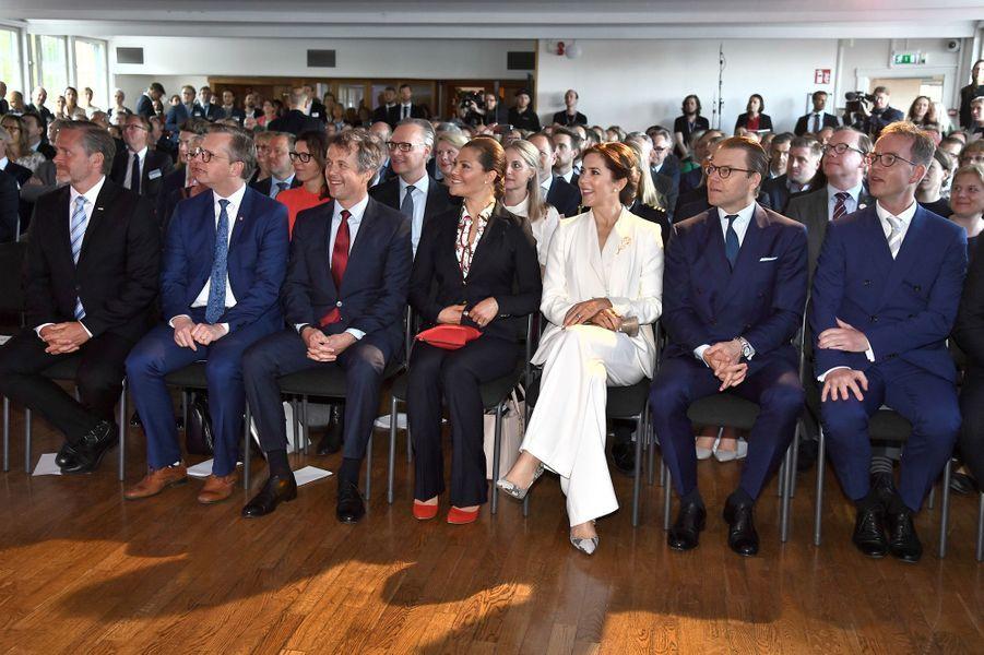La princesse Mary et le prince Frederik de Danemark avec la princesse Victoria de Suède et le prince consort Daniel à Stockholm, le 29 mai 2017
