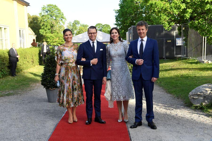 La princesse Mary et le prince Frederik de Danemark avec la princesse Victoria et le prince Daniel de Suède à Stockholm, le 29 mai 2017