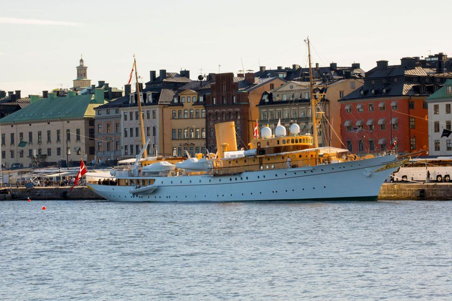 Le Dannebrog amarré à Stockholm, le 29 mai 2017