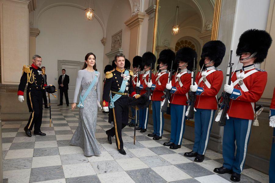 La princesse Mary et le prince Frederik de Danemark au château de Christiansborg à Copenhague, le 3 janvier 2017