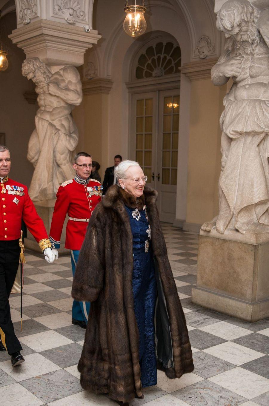 La reine Margrethe II de Danemark au château de Christiansborg à Copenhague, le 3 janvier 2017