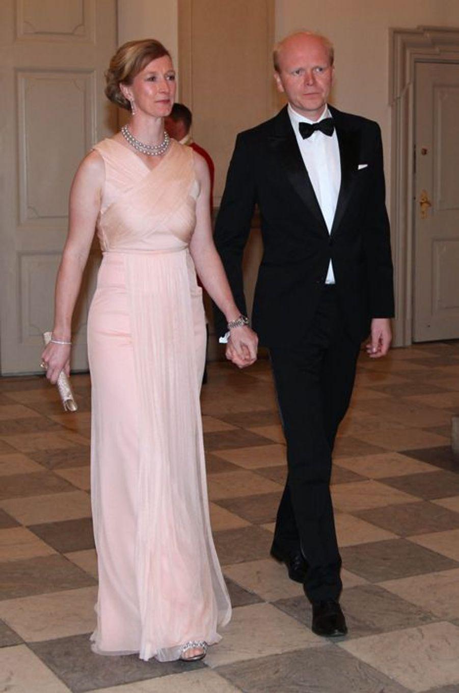 La princesse Natalie de Danemark et son mari au château de Christiansborg à Copenhague, le 15 mars 2016