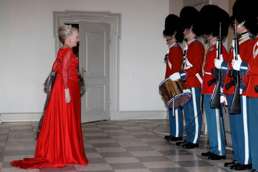 La reine Margrethe II de Danemark au château de Christiansborg à Copenhague, le 15 mars 2016