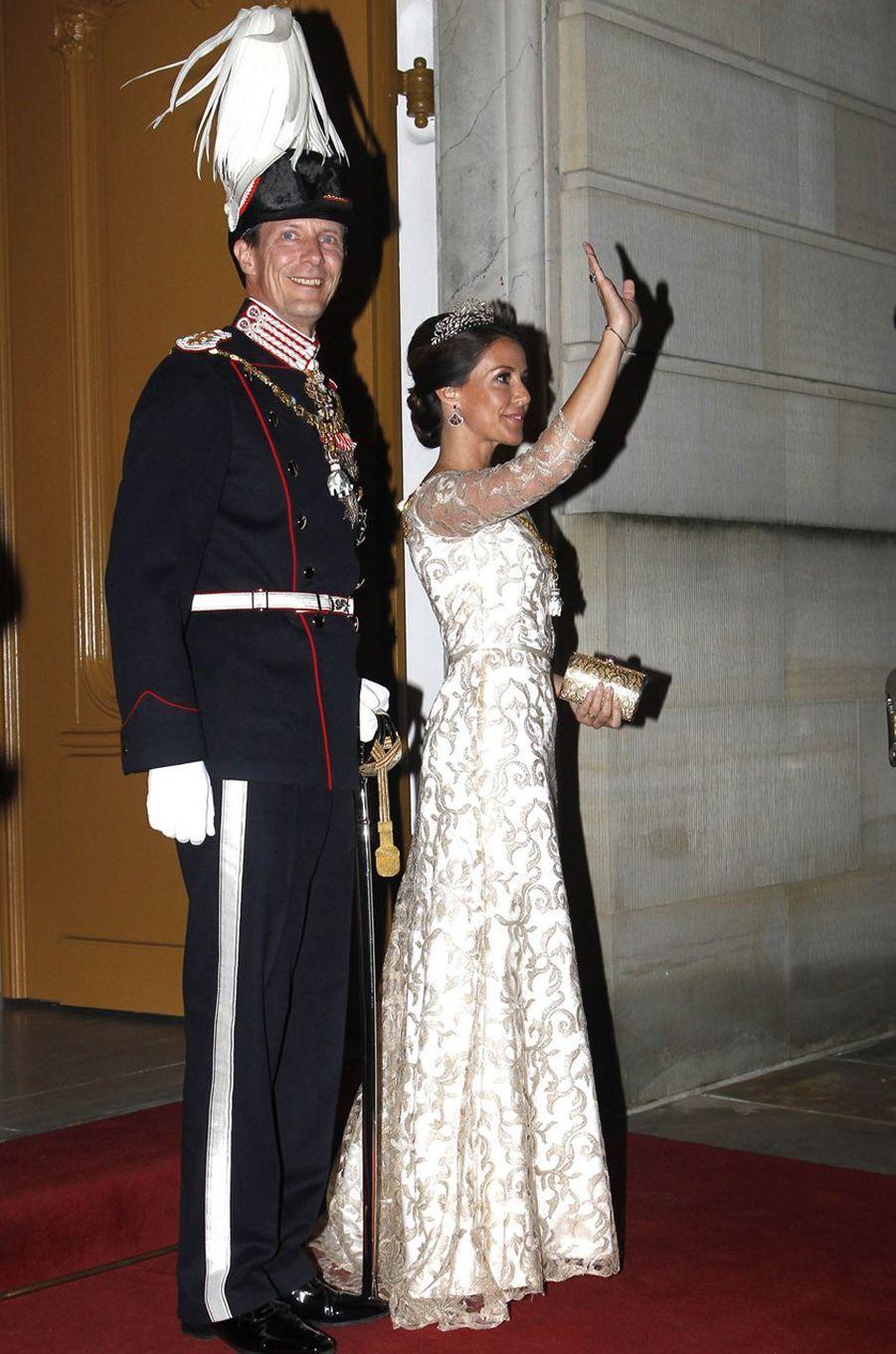 La princesse Marie de Danemark avec son époux le prince Joachim à Copenhague, le 1er janvier 2018