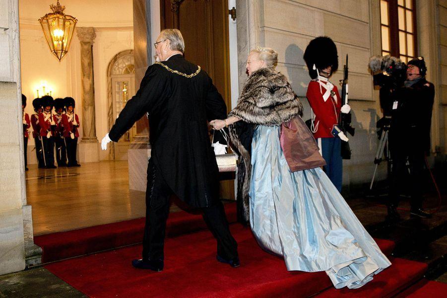 La reine Margrethe II et le prince Henrik de Danemark à Copenhague, le 1er janvier 2017