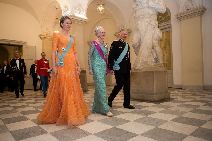 La reine Margrethe II de Danemark avec la reine Mathilde et le roi Philippe de Belgique à Copenhague, le 28 mars 2017