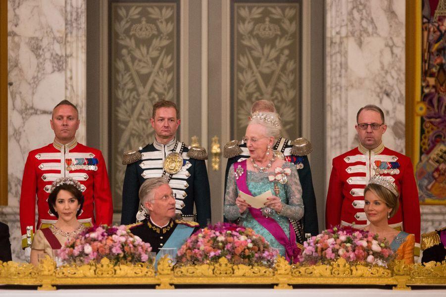 La famille royale du Danemark avec la reine Mathilde et le roi Philippe de Belgique à Copenhague, le 28 mars 2017