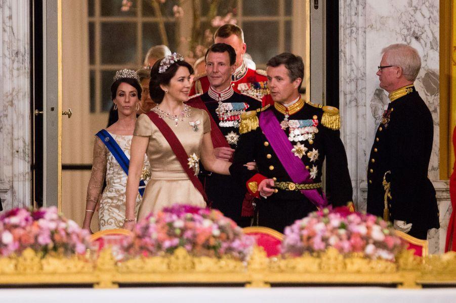 Les princesses Mary et Marie et les princes Frederik et Joachim du Danemark à Copenhague, le 28 mars 2017