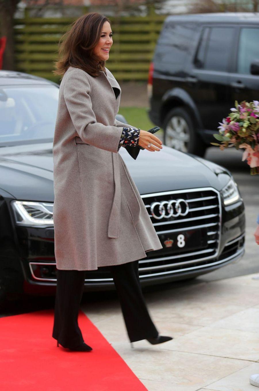 La princesse Mary de Danemark à son arrivée à Roskilde, le 12 janvier 2018